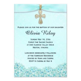 Invitación azul clara del bautizo del bautismo invitación 11,4 x 15,8 cm