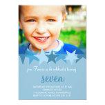 Invitación azul clara del cumpleaños de la foto de