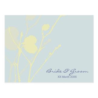Invitación azul claro P del boda de la ramita Tarjetas Postales