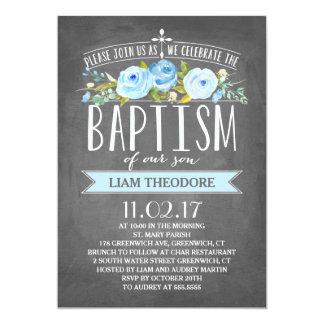 Invitación azul color de rosa del bautismo de la