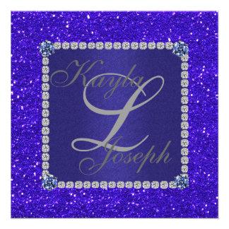 INVITACIÓN AZUL cristalina elegante del boda