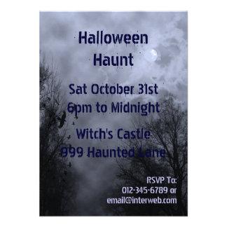 Invitación azul de encargo frecuentada de Hallowee