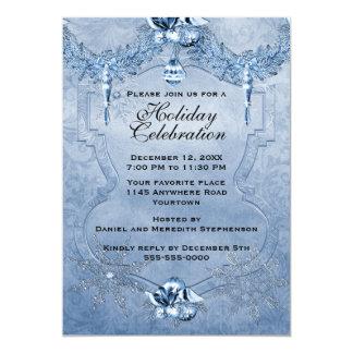 Invitación azul de la celebración de días festivos