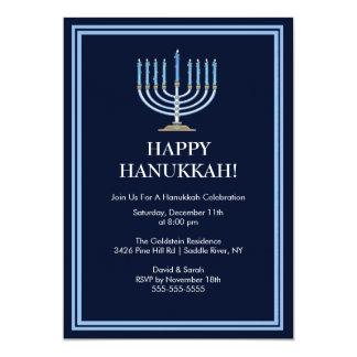 Invitación azul de la celebración de Menorah Invitación 12,7 X 17,8 Cm