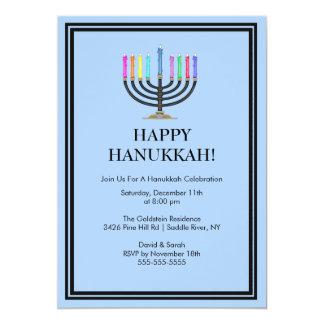 Invitación azul de la celebración de Menorah