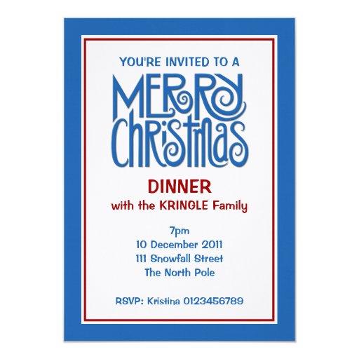 Invitación azul de la cena de las Felices Navidad