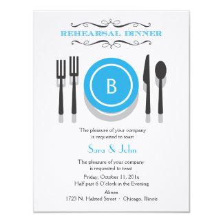 Invitación azul de la cena del ensayo del