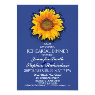 invitación azul de la cena del ensayo del girasol invitación 12,7 x 17,8 cm
