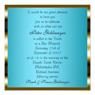 Invitación azul de la ceremonia de Mitzvah de la