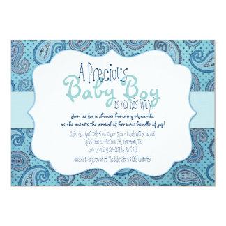 Invitación azul de la ducha del bebé de Paisley