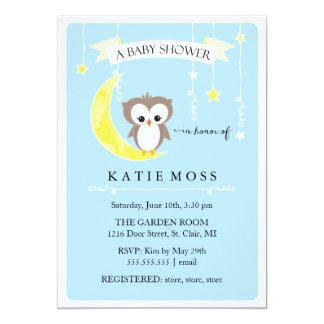 Invitación azul de la fiesta de bienvenida al bebé
