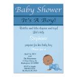 Invitación azul de la fiesta de bienvenida al bebé invitación 12,7 x 17,8 cm