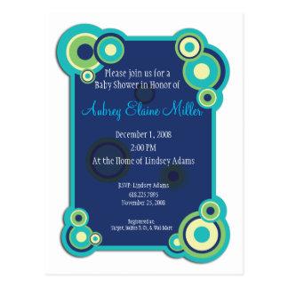 Invitación azul de la fiesta de bienvenida al bebé postales