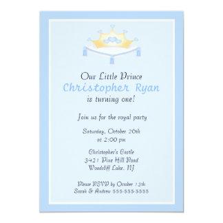 Invitación azul de la fiesta de cumpleaños de