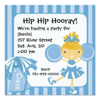 Invitación azul de la fiesta de cumpleaños de la invitación 13,3 cm x 13,3cm