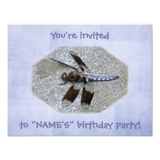 Invitación azul de la fiesta de cumpleaños de la