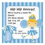 Invitación azul de la fiesta de cumpleaños de la a