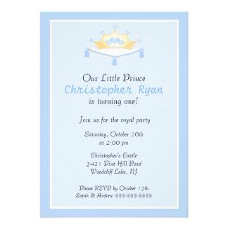 Invitación azul de la fiesta de cumpleaños de prín