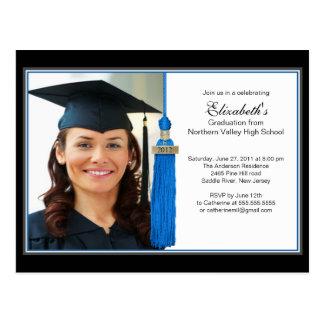 Invitación azul de la fiesta de graduación de la postal
