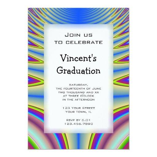 Invitación azul de la fiesta de graduación del