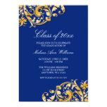 Invitación azul de la fiesta de graduación del invitación 12,7 x 17,8 cm