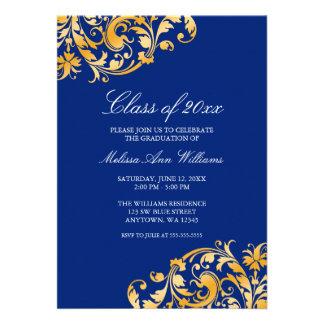Invitación azul de la fiesta de graduación del rem