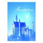Invitación azul de la fiesta de la princesa cumple