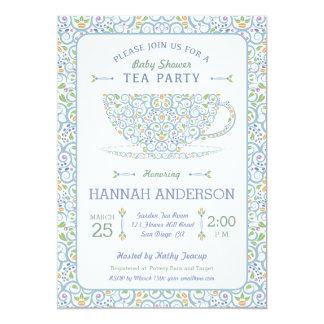 Invitación azul de la fiesta del té de la fiesta
