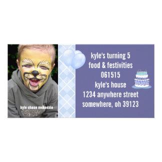Invitación azul de la foto de Argyle Birthdy Tarjeta Fotográfica Personalizada