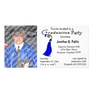 Invitación azul de la foto de la fiesta de graduac tarjeta fotografica personalizada
