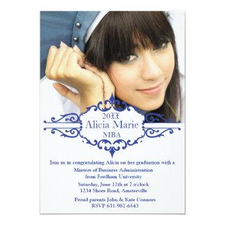 Invitación azul de la foto de la graduación