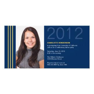 Invitación azul de la foto de la graduación de las tarjetas fotograficas personalizadas