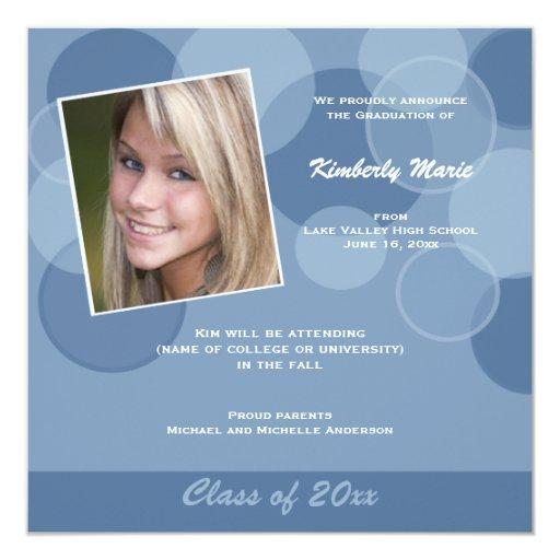 Invitación azul de la graduación de la foto de la