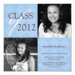 Invitación azul de la graduación de la foto del