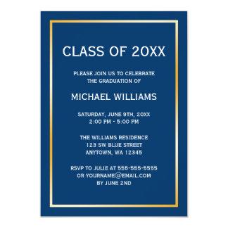 Invitación azul de la graduación de la frontera