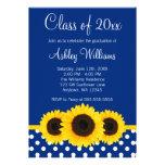 Invitación azul de la graduación de los lunares de