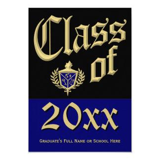 Invitación azul de la graduación del escudo invitación 12,7 x 17,8 cm