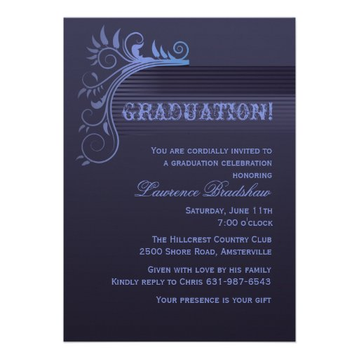Invitación azul de la graduación del horizonte