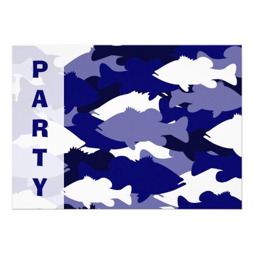 Invitación azul de la pesca de la lubina de Camo