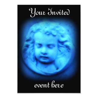 Invitación azul de la querube
