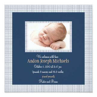 Invitación azul de la tela escocesa