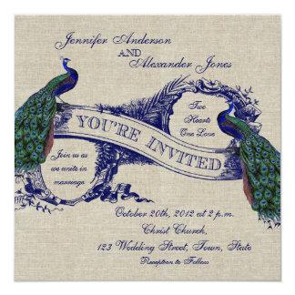 Invitación azul de lino de los pavos reales del invitación 13,3 cm x 13,3cm