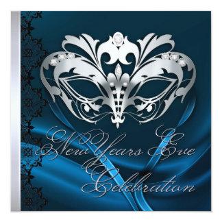 Invitación azul de los Años Nuevos de la máscara