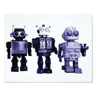 invitación azul de los robots invitación 10,8 x 13,9 cm
