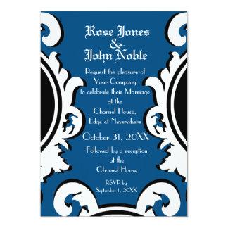 Invitación (azul) de marfil barroca del boda