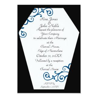 Invitación (azul) de marfil del boda de Keranda