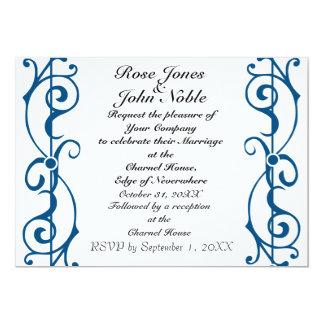 Invitación (azul) de marfil del boda de la