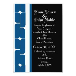 Invitación (azul) de marfil del boda de Schizm