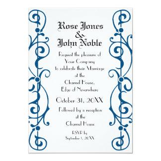 Invitación (azul) de marfil del boda de Tendrillon