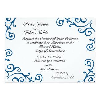 Invitación (azul) de marfil del boda del cirro